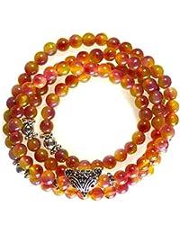 Bracelet pierre - Cristal - Calcédoine- Bijou en pierre naturelle 6mm 70cm  - Renard - Rose - Goupy - Cadeau Femme pas cher - Multitours 4 rangs… 52fc6ba8d116