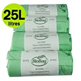 25Liter X 100kompostierbar Caddy Taschen–Küche Lebensmittelabfälle Kompost Müllbeutel 25L–EN 13432–Bordsteinkante Pedal Müllbeutel