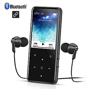 Lettore Mp3 Bluetooth 8 GB, 2,4 Pollici Schermo a Colori, Mp3 Player di Metallo con Radio FM y Slot per Schede SD, Colore Nero- AGPTEK C2