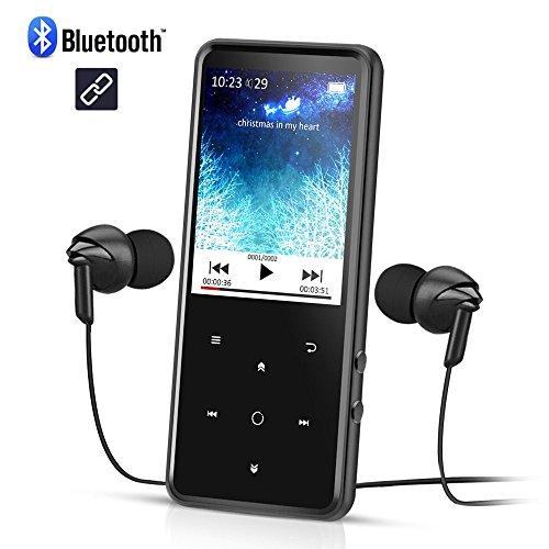 AGPTEK Grand Ecran Mp3 Bluetooth 4.0 C2, Corps Miroir avec Ecran HD DE 2,4 Pouces en Couleur et Boutons Tactiles Lecteur 8Go Stéréo Excellent en Métal- No