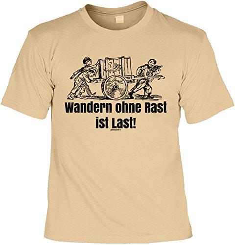 Freizeit/Wander/Kletter-Shirt/Sprüche-Shirt Thema Wandern: Wandern ohne Rast ist Last! für Gipfelstürmer Sand