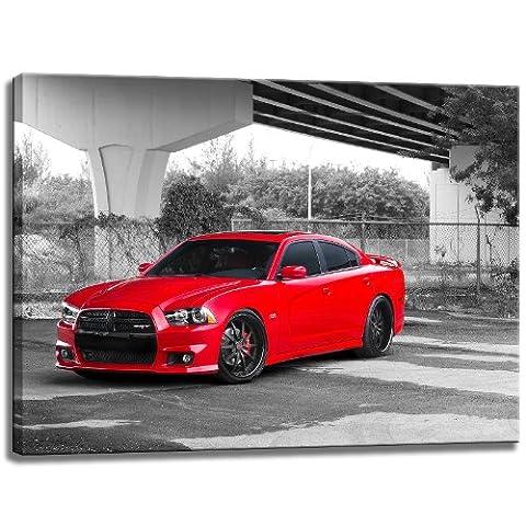 Dodge Charger SRT - conception noire / blanc avec des éléments de couleur sur la toile dans le format: 80x60 cm. Art impression de haute qualité comme une fresque. Moins cher qu'une peinture à l'huile! ATTENTION Aucune affiche!