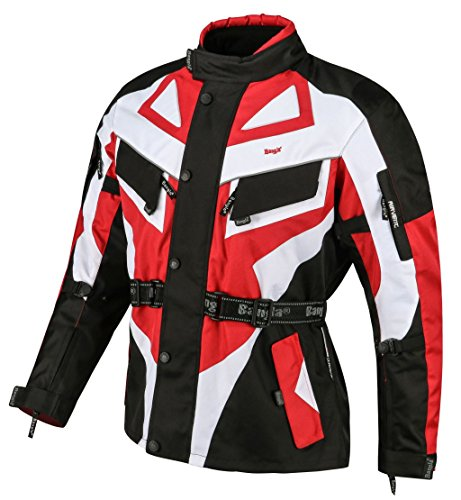 Ledershop-online Bangla Motorradjacke Touren Motorrad Jacke Textil Schwarz Rot 1535 5XL