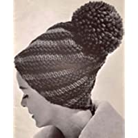 Diagonal Striped Hat Knitting Pattern Knit Cap Beanie (English Edition)