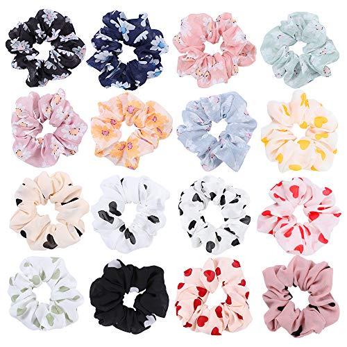 16 pezzi cravatte per capelli in chiffon fiore elastico a forma di cuore capelli morbidi scrunchies titolare coda di cavallo fasce corde anello per le donne ragazze accessori per capelli