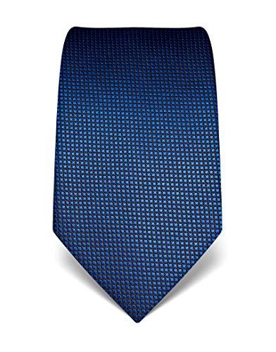 Vincenzo Boretti Herren Krawatte reine Seide Karo Muster kariert edel Männer-Design gebunden zum Hemd mit Anzug für Business Hochzeit 8 cm schmal/breit blau