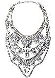 Happiness Boutique Damas Collar Llamativo con Cristales Claros | Collar Oversize XXL a Capas Libre de Níquel
