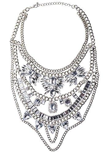 Happiness Boutique Collana Statement con Cristalli Trasparenti | Collana XXL Oversize Multi Filo senza nickel