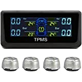 RAXFLY Energía Solar Tire Pressure Monitor Sistema TPMS, Monitor de Presión Neumático Sistema Profesional Pantalla LCD con 4 Sensores Externos Inalámbricos impermeables, Seguridad de Alarma de Temperatura y Presión