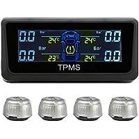 RAXFLY TPMS Sistema Monitor Pressione Pneumatico da Auto LCD Schermo Presa Accendisigari con 4 Sensore Digitale Solare 3.5 Bar Sicurezza Guida per Auto