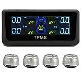 RAXFLY TPMS Énergie Solaire Moniteur Système de Surveillance des Pneus Sans Fil Jauge de Pression des Pneus avec Affichage LED Couleur + 4 Capteurs Externes pour Voiture Auto