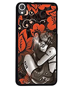PRINTVISA Girl with oreang flower Premium Metallic Insert Back Case Cover for HTC Desired 820 - D5777