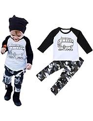 Amlaiworld Bebé De manga larga camiseta de la impresión de las tapas + conjunto de pantalón