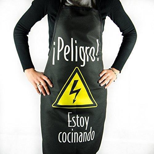 Calledelregalo Delantal '¡Peligro! Estoy cocinando!. Regalo original para hombres amantes de la cocina