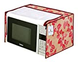 Kuber Industries Leaf Design PVC Microwave Oven Full Closure Cover for 23 Litre (Red) CTKTC33233