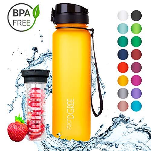 """720°DGREE Trinkflasche \""""uberBottle\"""" - 1 Liter, 1000ml, Gelb   Neuartige Tritan Wasser-Flasche   Water Bottle BPA Frei   Ideale Sportflasche für Kinder, Fitness, Fahrrad, Sport, Fussball"""