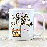 """Wandtattoo Loft® Bedruckte Keramiktasse Eulchen mit Spruch """"Mir reichts! Ich gehe schaukeln! / Eule /Uhu / Spruch / beidseitig / Tasse / Becher / Spülmaschinenfest / Kaffeetasse mit Motiv und Spruch"""