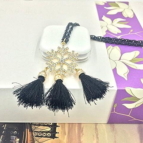 XJoel Gioielli Handmade della collana fiocchi di neve di Natale nappa Collana a bavaglio di Halloween di Natale Donne