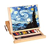 ?Display Artist Easel Adjustable Wood Desk Table Easel with Storage Drawer, Paint Palette, Premium Pine  Portable Wooden Artist Desktop, Board for Canvas, Painting, Drawing Sketching Book Stand
