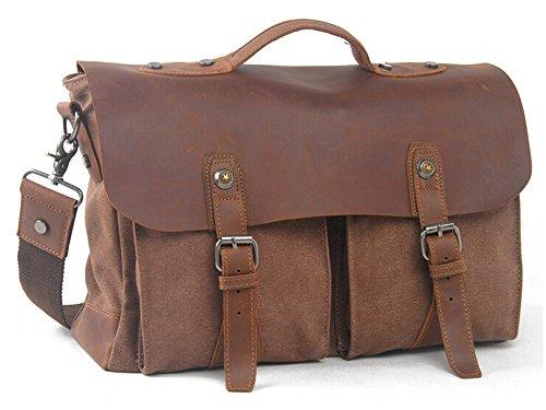 Vintage Retro Casual Canvas Leder Cross Body Umhängetasche Handtasche 15 Zoll Laptop Tasche für Männer Braun
