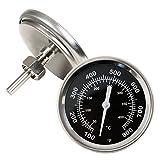 Grillthermometer bis 400 °C / 800 °F, Thermometer für alle Grills, Smoker, Räucherofen und Grillwagen, analog, Grillzubehör (Anzeige: Celsius und Fahrenheit)