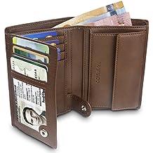 43aaf7d1ccc TRAVANDO ® Portefeuille Homme Rome - 10 Rangements Cartes - Blocage RFID -  Porte-Monnaie
