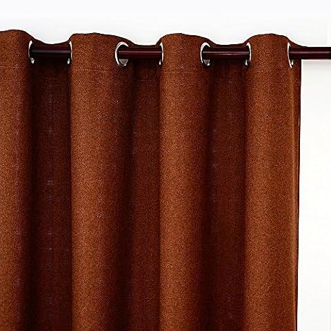 Top Finel Rideaux Occultants de fenêtre Solides Isolants Thermiques en lin à oeillets, Brune, 140X215, un panneau