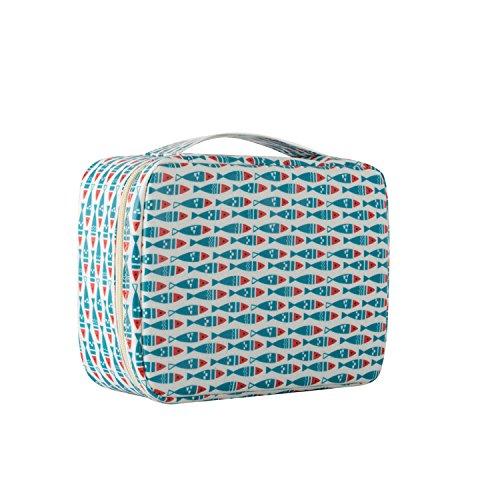 Reise tragbare Kosmetiktasche Waschbeutel Bad tragbare Reisespeicher Sortierbeutel blau rot Fisch 22 *   17 * 9,5 cm -