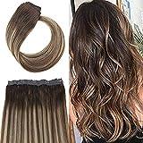 YoungSee 70g/pack Clip Extensions Echthaar One Piece Dunkelbraun mit Karamel Blondine Balayage Extensions Echthaar Clip in 100% Human Hair 22 Zoll