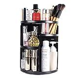 Organizador del Maquillaje, ELOKI Organizador para cosméticos 360 Grados de Rotación Gran Capacidad con Estantes ajustables, Negro