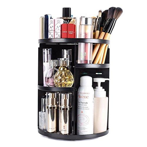 Eloki organizzatore trucco acrilico, 360 gradi di rotazione make up organizer grande capacità regolabili cosmetic organizer scatola, nero