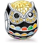 NinaQueen chouette Perle Charm pour femme argent 925 compatible avec pandora charms bracelets bijoux Cadeau Saint Valentin Fete des Meres Anniversaire Cadeaux Noel Maman Mere Fille