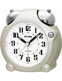 Rhythm Added Bell Alarm Clocks Pearl White 10.6x10.4x5.4 Cm