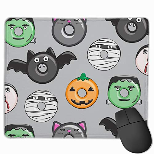 Halloween Donut Medley Grey Pumpkin Frankenstein Black Cat D Mousepad Non-Slip Rubber Gaming Mouse Pad Rectangle Mouse Pads for Computers Laptop (11.8X9.8 Inch)