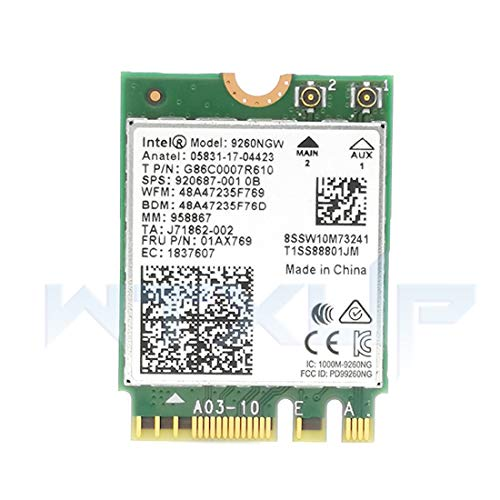 MQFORU Intel Wireless AC 9260 2230 2x2 + BT Gigabit vPro Interno Unidad de Disco óptico