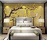 Wxlsl 3D Tapete Ginkgo Handgemalten Blumen Und Vögel Neue Chinesische Hintergrund Wanddekoration Malerei-200Cmx140Cm