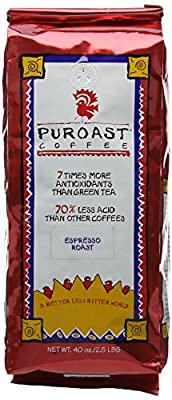 Puroast Low Acid Coffee Espresso Roast Whole Bean Coffee 1134 g