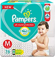 Pampers All round Protection Pants, Medium size baby diapers (MD), 76 Count, Anti Rash diapers, Lotion with Al