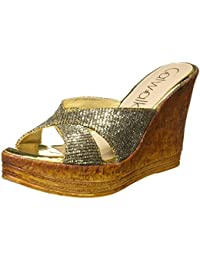 Catwalk Silver Leather Slip-on Wedges for Women's