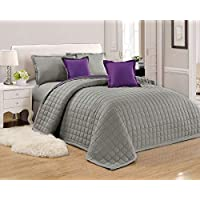 طقم لحاف مضغوط وجهين مفرش سرير 6 قطع, مقاس مزدوج