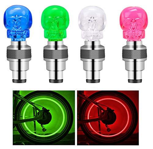 Suweor upo 8 Stücke LED wasserdichte Reifen Ventilkappen Neonlicht Auto Zubehör Fahrradlicht Auto, Ventil Kappen, Reifen Beleuchtung, Speichen Licht für Fahrrad, Auto, Motorrad oder LKW (Mehrfarbig)