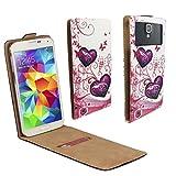 Coolpad E502 - Smartphone Klappbare Flip Tasche/Schutzhülle mit Kreditkartenfach - Flip Liebe Schmetterling Nano L