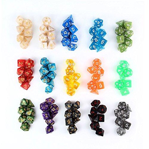 105 Stück Polyedrische Würfel mit Taschen, Polyedrischen Spielwürfel Polyedrische Dice für RPG Dungeons und Dragons Pathfinder, 15 Set von D20, D12, 2 D10 (00-90 und 0-9), D8, D6 und D4