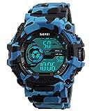 Herren Jugendliche Jungen Multifunktio Digital Sportuhr Männer 50M Wasserdicht Militär Digital Armbanduhr mit Stoppuhr Blaue Tarnung Großes Gesicht LED Elektronisch Stunden Beiläufig Uhren