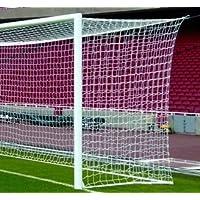 POWERSHOT Rete da Calcio a 11 Regolamentare 7,50 x 2,50 m, Anti-UV e Interamente Rinforzata sul Perimetro (Bianco)