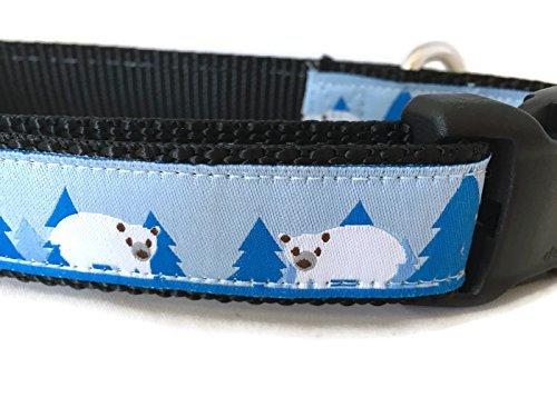 caninedesign Qualität Halsbänder Hundehalsband, Weihnachten, caninedesign, Pinguin, Schneemann, Eisbär, 2,5cm breit, verstellbar, Nylon, mittelgroß und groß (Polar Bär, groß 15-22)