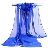 Westeng Frau Schal chiffon Wrap Shawls Dünne Schals Einfarbig Einfache Elegante für Kleider in Verschiedenen Farben - Glasiert blau