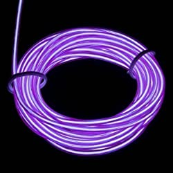 Lerway 5M colorido luminoso EL electroluminiscente Luz alambre de iluminación LED que brilla intensamente flexible Controlador Box, para el hogar Cocina Jardín Dormitorio Decoración, café restaurante, Fiesta Bar Club (morado)