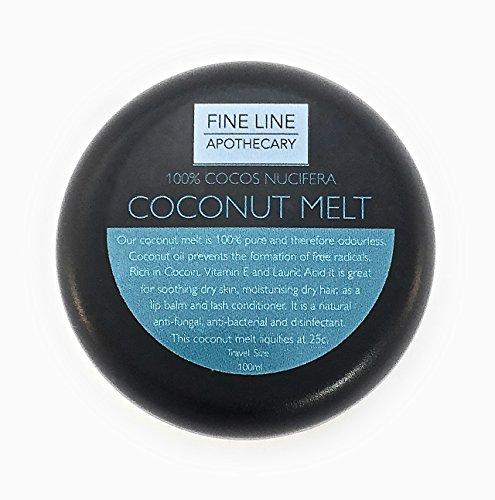 ACEITE DE COCO -100ml-by Fine Line Apothecary. 100% puro, prensado en frío, virgen, aceite de coco. Un lujoso aceite para la piel, el cabello, el cuerpo, la barba y las uñas, de la más alta calidad.