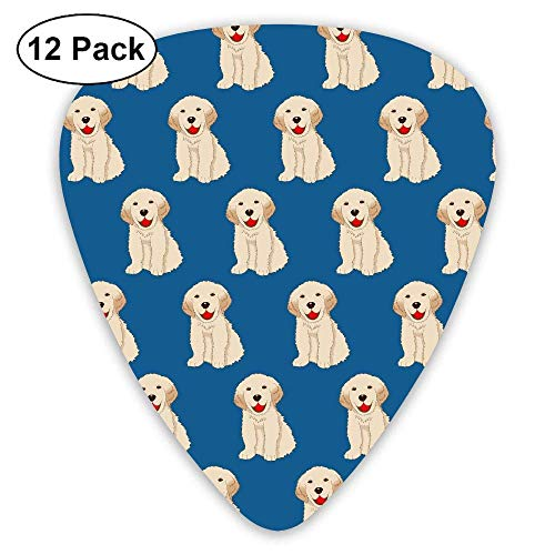 Labrador Golden Retriever Dog Blue Pattern Classic Guitar Picks 12-Pack -